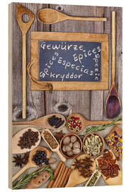 Wood print  Spices in different languages - Thomas Klee