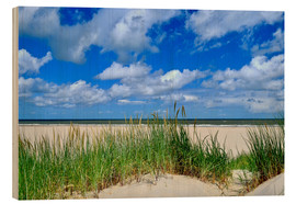 Wood print  Dune with wonderful clouds - Susanne Herppich
