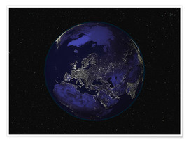 Premium poster Earth at night - Europe