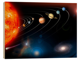 Wood print  Our solar system