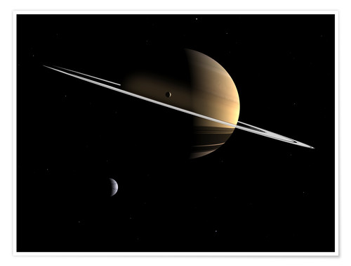 Premium poster Saturn and its moons Dione and Tethys