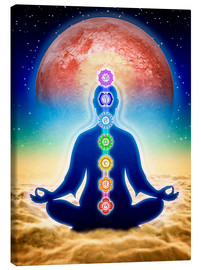 Canvas print  In meditation with chakras - red moon edition - Dirk Czarnota