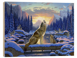 Wood print  Wolf learns the howling - Chris Hiett