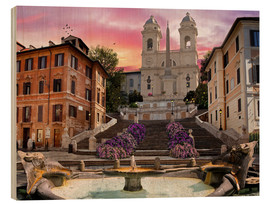 Wood print  Piazza Di Spagna with the Spanish Steps - Dominic Davison
