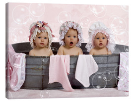 Canvas print  Toddlers in flowery bonnets - Eva Freyss