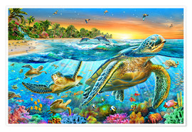 Premium poster  Underwater turtles - Adrian Chesterman