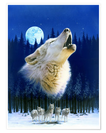 Premium poster  Howling wolf - Robin Koni