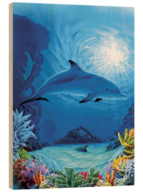 Wood print  Camouflage dolphins - Robin Koni