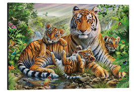 Aluminium print  Tiger and Cubs - Adrian Chesterman