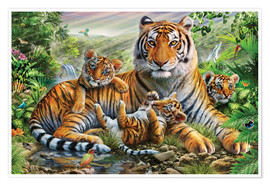 Premium poster  Tiger and Cubs - Adrian Chesterman