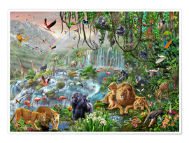 Premium poster  Jungle waterfall - Adrian Chesterman