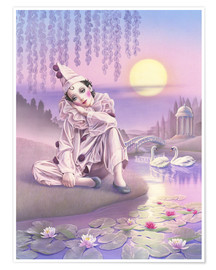 Premium poster  Pierrot and swans - Andrew Farley