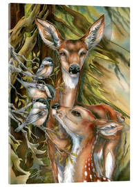 Acrylic print  Deers and birds - Jody Bergsma