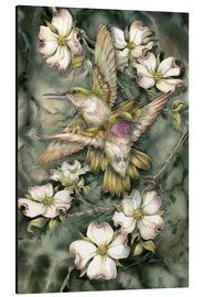 Aluminium print  Hummingbirds and flowers - Jody Bergsma