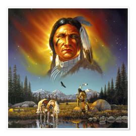 Premium poster  Chief eagle feather - Chris Hiett