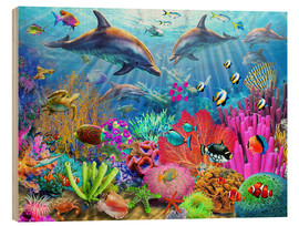 Wood print  Dolphin coral reef - Adrian Chesterman