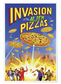 Premium poster  Invasion of the alien pizzas - Gareth Williams