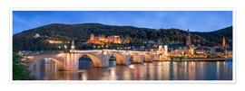 Premium poster  Heidelberg skyline panorama at night with castle and Old Bridge - Jan Christopher Becke