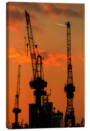 Canvas print  Crane silhouette Port of Hamburg - Dennis Stracke