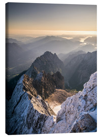 Canvas print  View over the Alps from Zugspitze - Andreas Wonisch