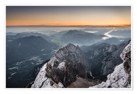 Premium poster  Sunrise from Zugspitze mountain with view across the alps - Andreas Wonisch