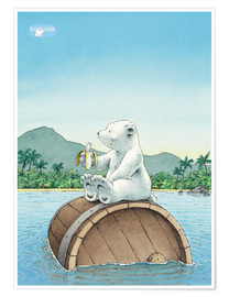 Premium poster  The little polar bear eating a banana