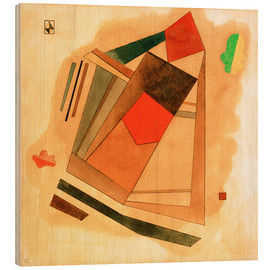 Wood print  Red in a Square - Wassily Kandinsky