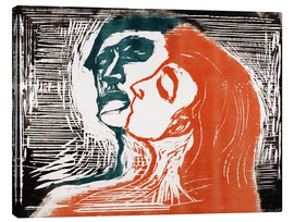 Canvas print  Man and woman is kissing - Edvard Munch