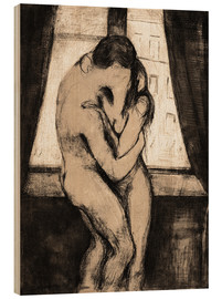 Wood print  The kiss - Edvard Munch