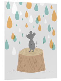 Foam board print  Mouse in the colorful rain - Sandy Lohß