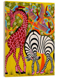 Wood print  Zebra with Giraffe in the bush - Omary