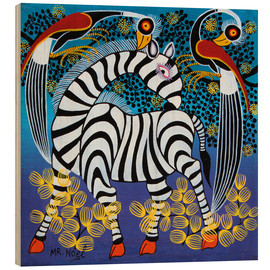 Wood print  Zebra with herons - Noel