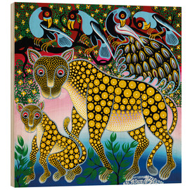 Wood print  Cheetah with peacock - Mzuguno