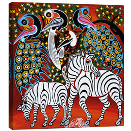 Canvas print  Zebras with peacock - Mzuguno