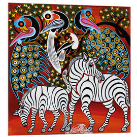 Foam board print  Zebras with peacock - Mzuguno