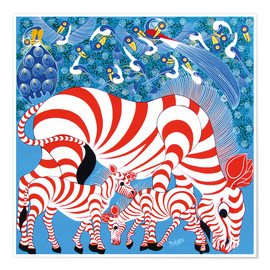 Premium poster  Zebras in red - Mustapha