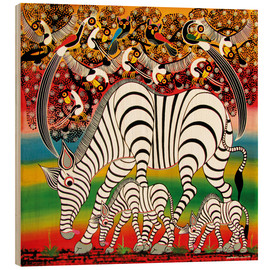 Wood print  Zebra herd flock of birds - Chiwaya