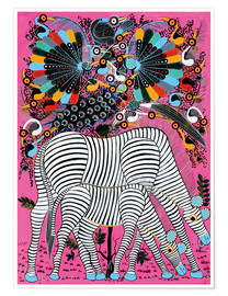 Premium poster  Zebra couple with magnificent flock of birds - Lewis