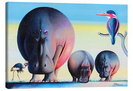 Canvas print  Hippo mother with cubs - Mkura