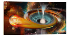 Wood print  Black hole with Pulsar, universe, galaxy - Kalle60