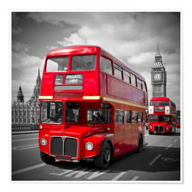 Premium poster  LONDON Red Buses - Melanie Viola