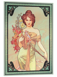 Acrylic print  The Four Seasons - Spring, brunette - Alfons Mucha