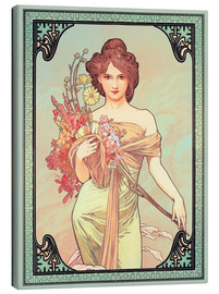 Canvas print  The Four Seasons - Spring, brunette - Alfons Mucha