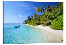 Canvas print  Tropical beach with palms, Maldives - Matteo Colombo