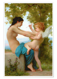 Premium poster  A Young Girl Defending Herself Against Eros - William Adolphe Bouguereau