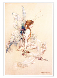 Premium poster  The fairies brought her a pretty pair of wings - Warwick Goble