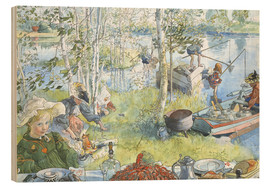 Wood print  The Crayfish Season Opens - Carl Larsson
