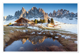 Premium poster Hut and Odle mountains, Dolomites