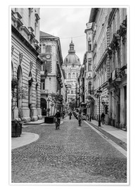 Premium poster  Budapest - view into an alley with church tower - Frank Herrmann