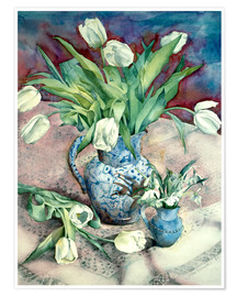 Premium poster  Tulips and Snowdrops - Julia Rowntree